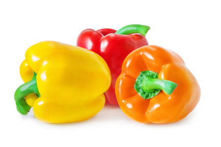 Bell peppers isolated on white Stock Photo