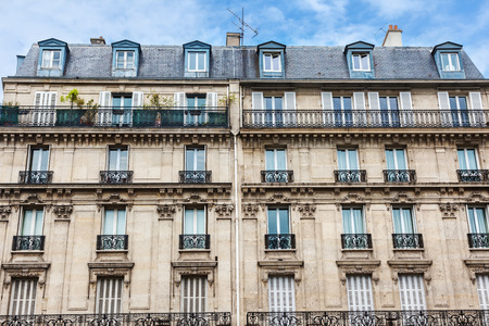 paris france: Facade of Parisian building Stock Photo