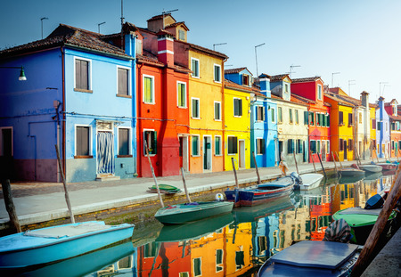 Burano: Colorful houses in Burano, Venice, Italy Stock Photo