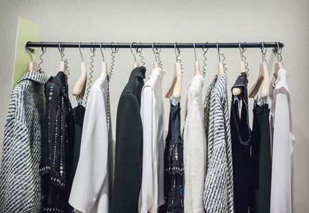 clothes rail: A row of clothes hanging on the rack Stock Photo