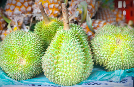 spikey: Close up to durian selling at the market