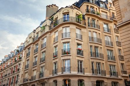 corner house: Facade of Parisian building Stock Photo