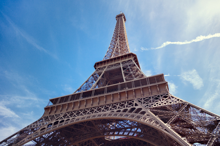 champs elysees: The Eiffel Tower in Paris Stock Photo