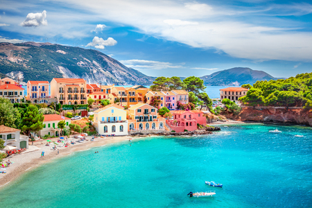 Assos village in Kefalonia, Greece Standard-Bild