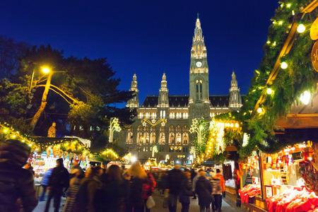 비엔나의 크리스마스 시장 스톡 콘텐츠