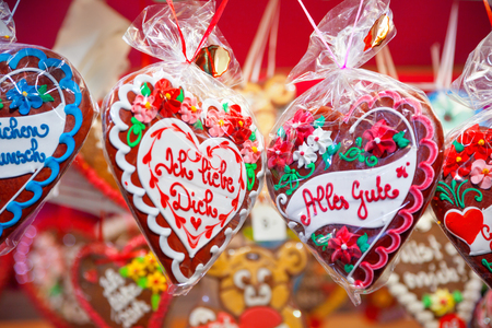 bonbons: Gingerbread hanging at the christmas market Stock Photo