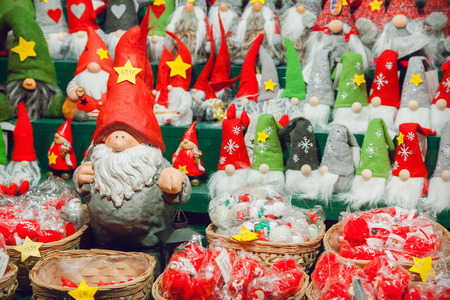 Close up of christmas gnomes Stock Photo