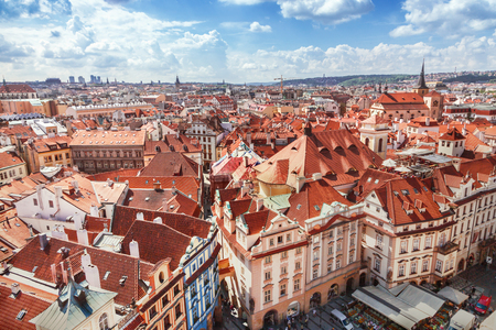 Red roofs in Prague 스톡 콘텐츠