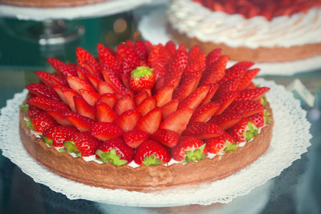 Close up of strawberry cake
