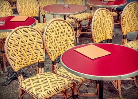 Typical outdoor cafe in Paris Stok Fotoğraf