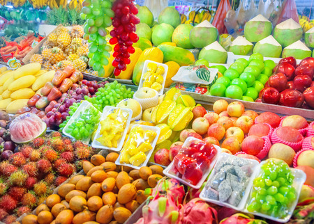 Fruit market with fresh fruits