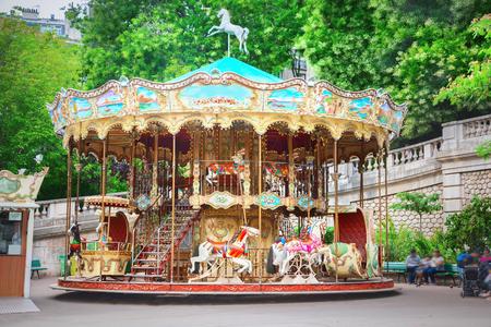 Merry-go-round in Paris Stock Photo