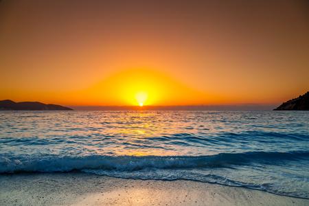 Sea sunset, Greece 스톡 콘텐츠