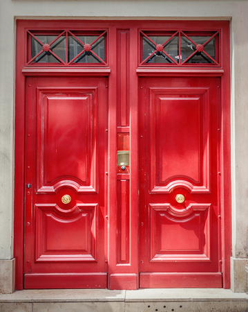 A traditional French wooden entrance door