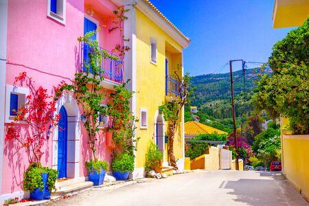 Straat op het eiland Kefalonia, Griekenland Stockfoto