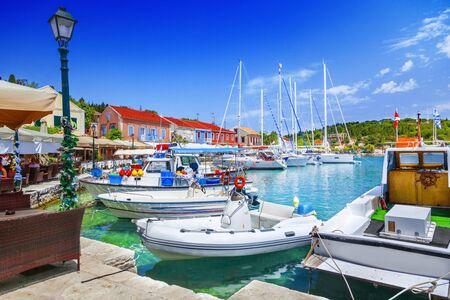Fiskardo village and harbor on Kefalonia Ionian island, Greece