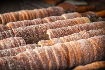 Trdelnik bakery on the street market in Prague, Czech Republic 版權商用圖片