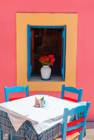 The colorful chairs in the cafe Stock Photo