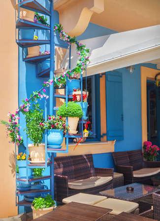 Outdoor cafe in Kefalonia island, Greece Stock Photo