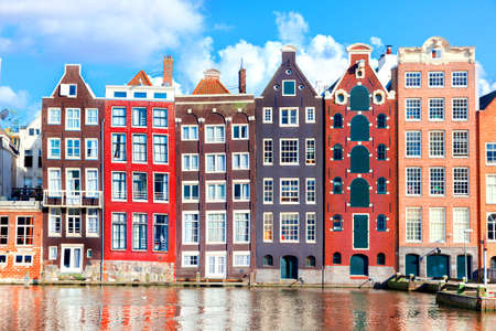 Typical dutch houses in Amsterdam, Netherlands Banco de Imagens