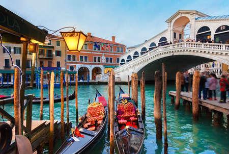 View of the Rialto Bridge over the Grand Canal in Venice