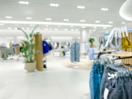Interior of clothing store blur background