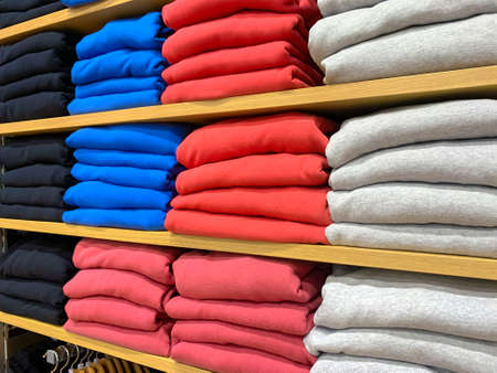 Clothes at shelf in a store