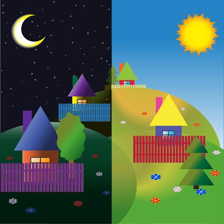 Villaggio sulle colline. Notte e giorno