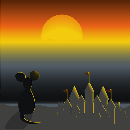 beach sunset: A mouse sitting on a beach and looking at the sunset. Sand castle.