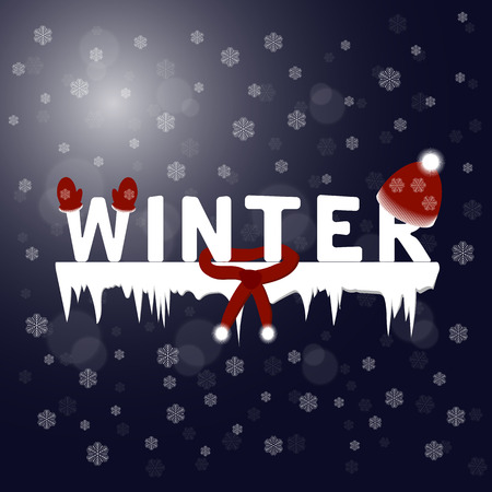 Winter text. Snowflakes night background.