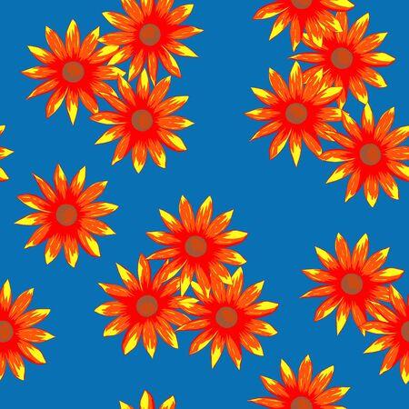 Orange flowers vector seamless pattern on a blue background Illustration