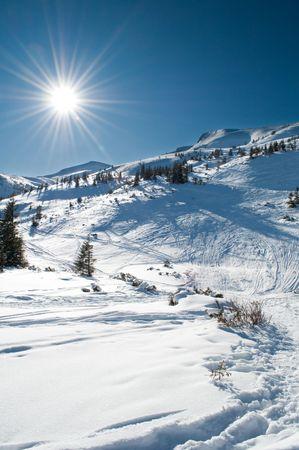swiss alps: Beautiful winter mountainous landscape Stock Photo