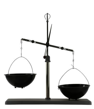 unbalanced: Unbalanced scales isolated on the white background. Empty deep black plastic bowls.