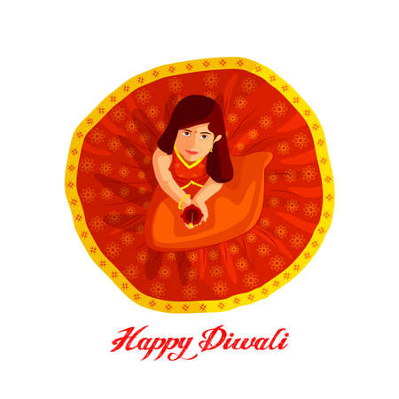 Happy diwali. Festival of light, greeting card. Diwali colorful posters with a little girl. Deepavali light and fire festival. Indian deepavali hindu festival of lights.