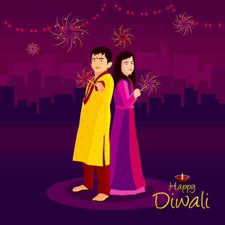 Happy diwali. Festival of light, greeting card. Diwali colorful posters with a little girl. Deepavali light and fire festival. Indian deepavali hindu festival of lights. Vector Illustration.