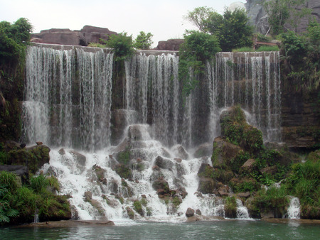 niagara falls city: Made to scale replica of Niagara falls in the park in Shenzhen city of China Stock Photo