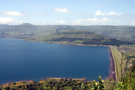 catchment: Panoramic view of scenic catchment area of a dam in the Maharashtra State of India