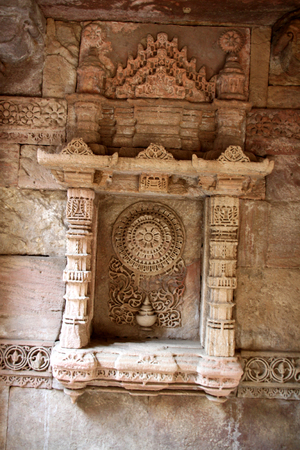 monument in india: carved ruins in an ancient monument called Adalaj step-well in the Ahmedabad district of Gujarat State of India