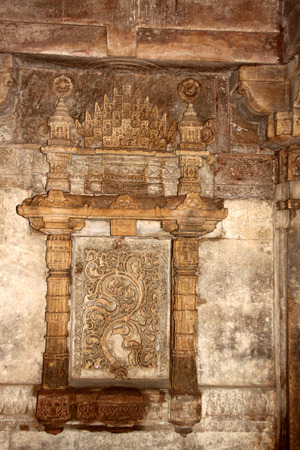 monument in india: Nicely carved widow of an ancient monument called Adalaj step-well in the Gujarat State of India