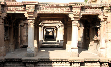 gujarat: A place called Adalaj near Ahmedabad district in the Gujarat State of India has a historic monument. Its a step-well with carvings on its walls. Stock Photo