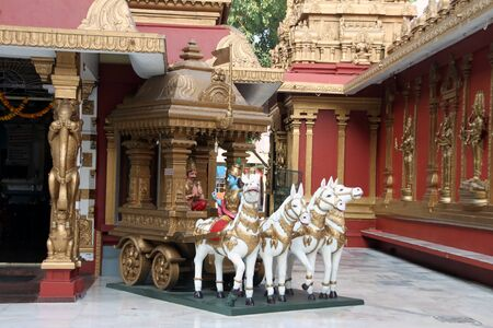 episode: Sculpture of chariot with Lord Krishna and Arjuna, depicting ancient episode from the literature named Mahabharata wherein Lord Krishna tells Bhagwatgita to Arjuna