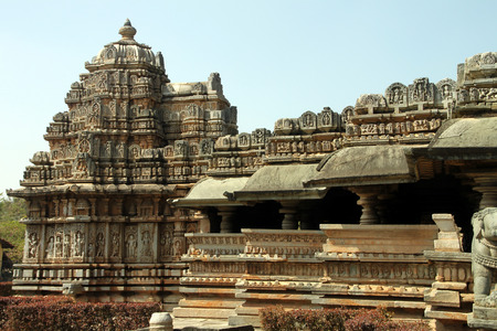 Beautiful external view of Veer Narayana temple in the State of Karnataka in India Stock Photo