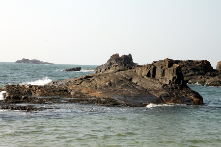 Hexagonal stones as a result of volcanic eruption in the sea near St. Marys island in the State of Karnataka in India