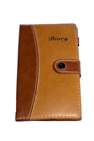 Leather Notebook on white background photo