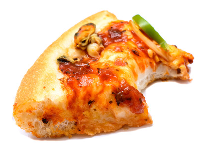 missing bite: Slice of pizza with a missing bite over white
