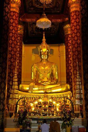 dhamma: Golden buddha in thai temple,ayutthaya Stock Photo