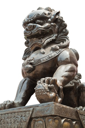 stone lion: Chinese dragon statue sculpture isolate on white background