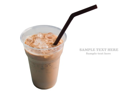 Cold coffee isolated on white background
