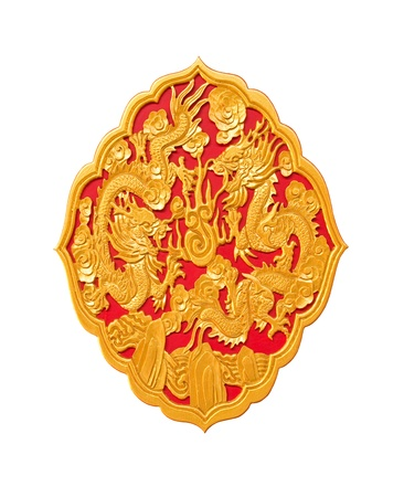 golden dragon decorated on red wood in chinese temple,Isolate on white background photo