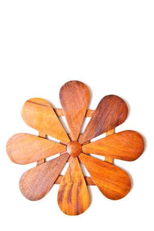Wooden plate Flower,Thai Handicraft Isolated on white background